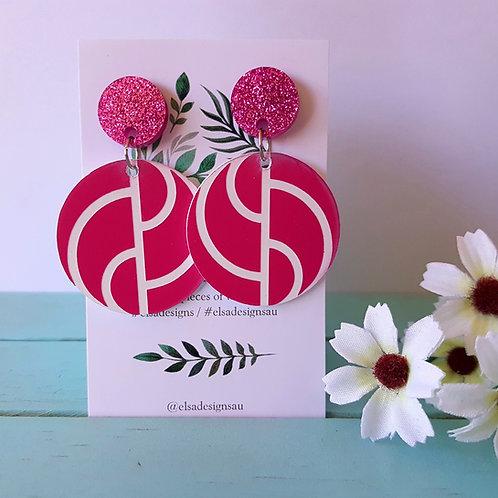 Elsa Designs - Pink Wavy Circle Dangles