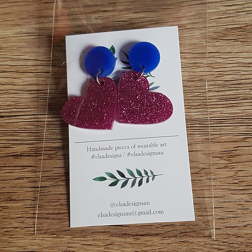 Elsa Designs - Blue and Pink Glitter Heart Dangles
