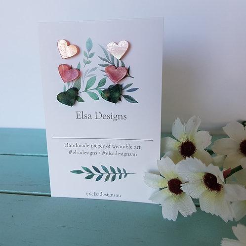 Elsa Designs -  Icecream Heart Studs Triple