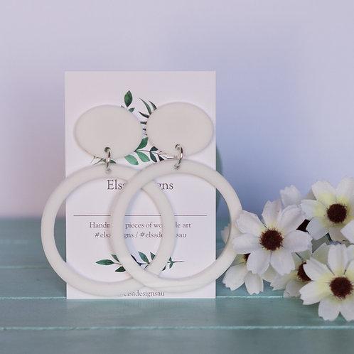 Elsa Designs -  Large White Circle Dangles