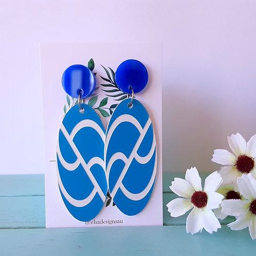 Elsa Designs - Blue Wavy Dangles