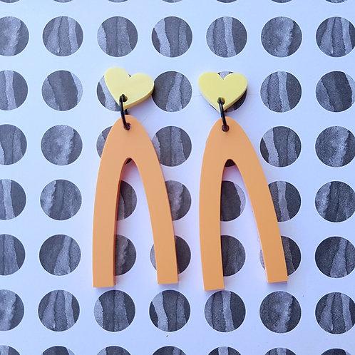 Lucky Heart Dangles (Yellow Hearts/Orange Dangles)