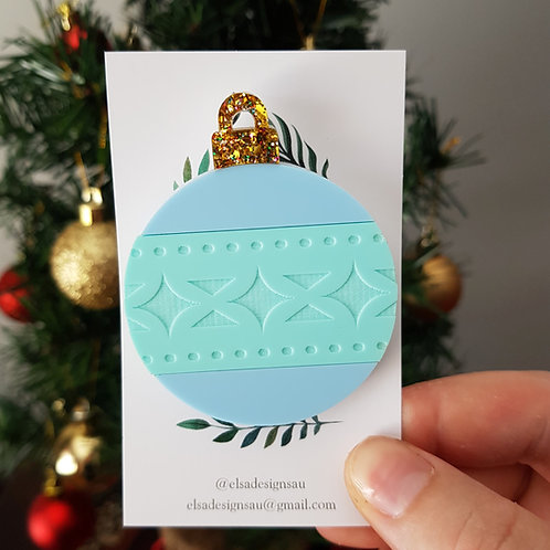 Elsa Designs - Christmas Bauble Brooch (Pastel) (Second)