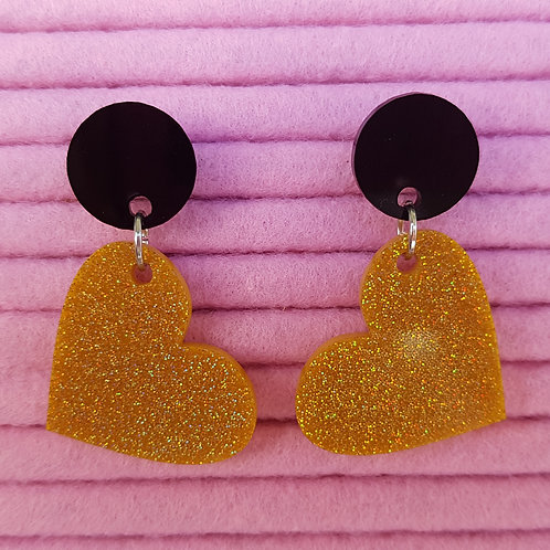 Elsa Designs - Heart Dangle Earrings (Black & Gold Glitter)