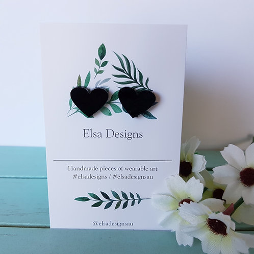 Elsa Designs -  Graphite Heart Studs