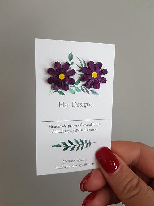 Elsa Designs - Deep Purple Daisy Studs