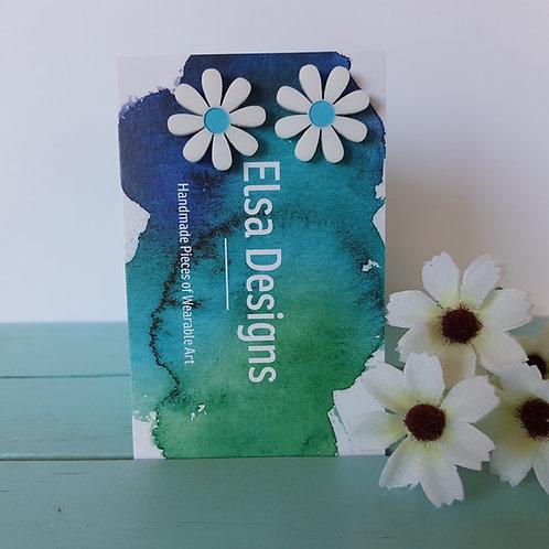 Elsa Designs - White Daisy Studs (Light Blue)