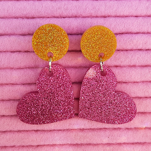 Elsa Designs - Heart Dangle Earrings (Pink & Gold Glitter)
