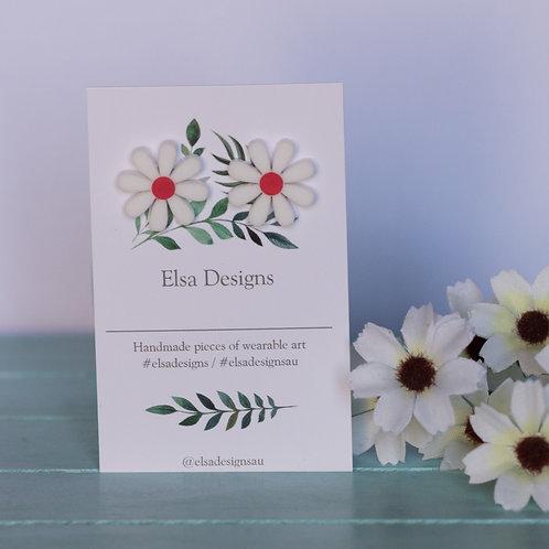Elsa Designs - White Daisy Studs (Red)
