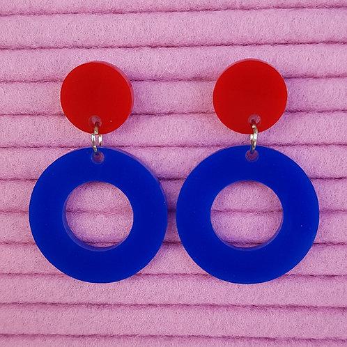 Elsa Designs - Hoop Dangle Earrings (Blue & Red)