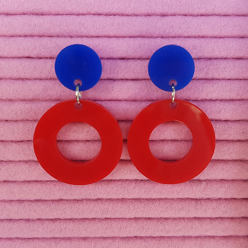 Elsa Designs - Hoop Dangle Earrings (Red & Blue)