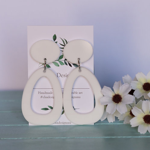 Elsa Designs -  White Shape Dangles