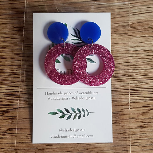Elsa Designs - Blue and Pink Glitter Hoop Dangles