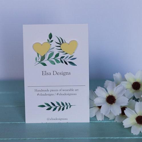 Elsa Designs -  Yellow Heart Studs