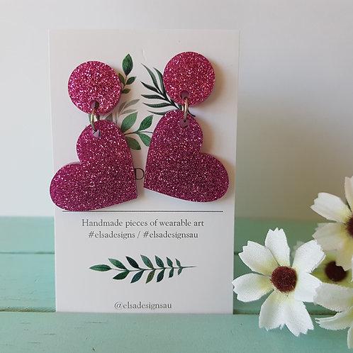 Elsa Designs - Pink Glitter Hearts