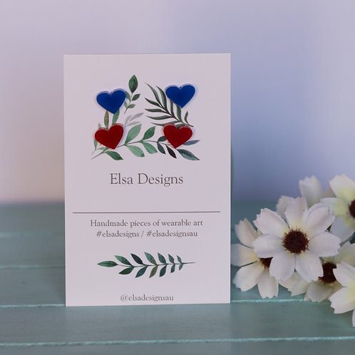 Elsa Designs - Blue &  Red Heart Studs Duo