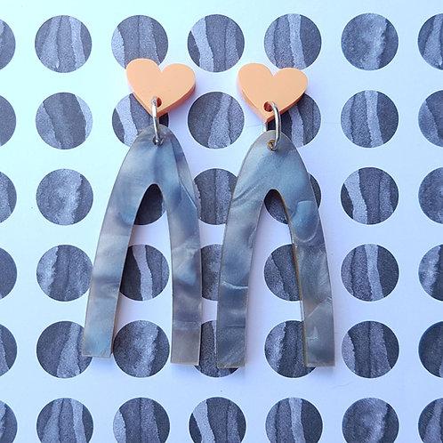 Lucky Heart Dangles (Orange Hearts/Grey Dangles)