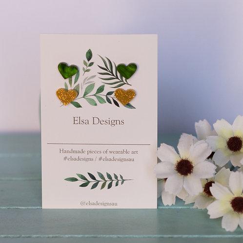 Elsa Designs -  Green & Gold Heart Studs Duo