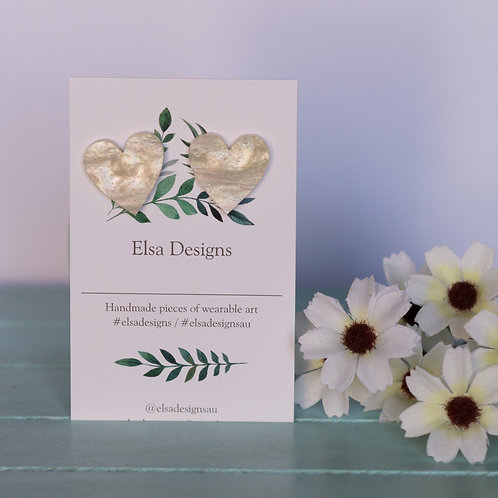 Elsa Designs -  Large White Heart Studs