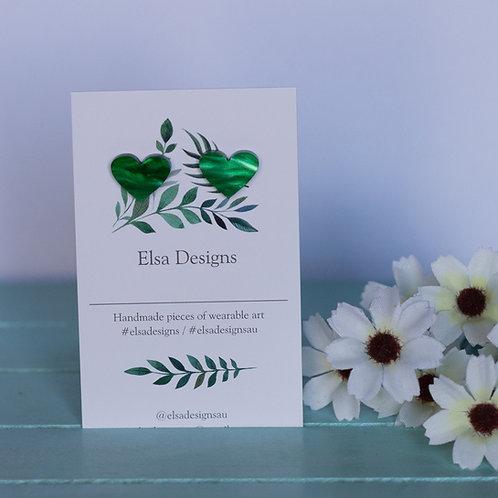 Elsa Designs -  Green Heart Studs