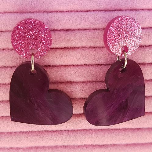 Elsa Designs - Heart Dangle Earrings (Purple Marble & Pink Glitter)