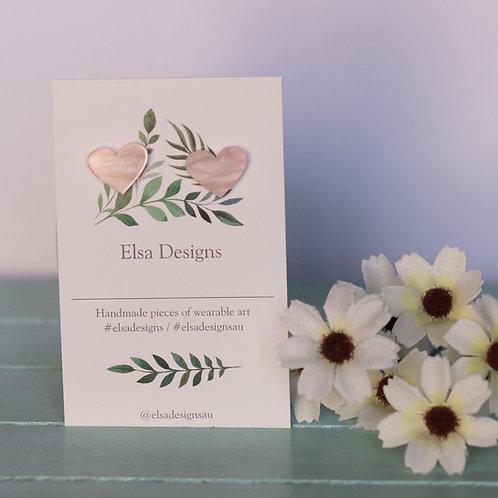Elsa Designs -  Pink Heart Studs