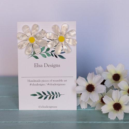 Elsa Designs - Large White Daisy Studs