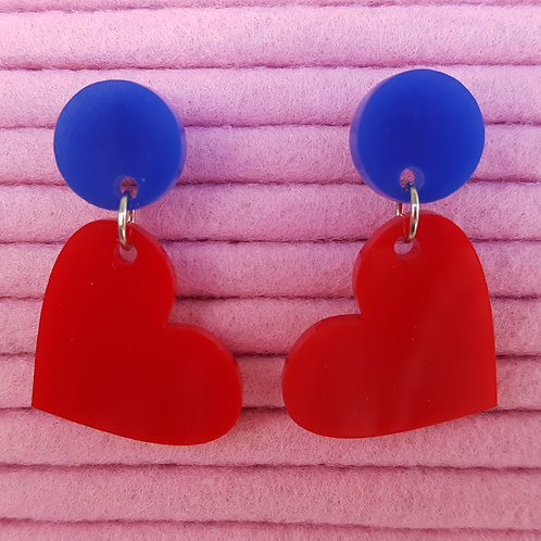 Elsa Designs - Heart Dangle Earrings (Blue & Red)