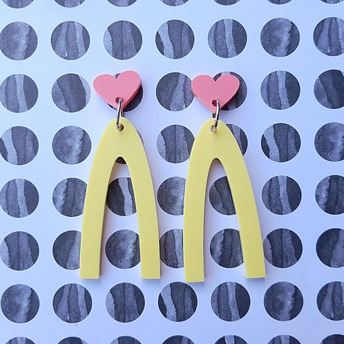 Lucky Heart Dangles (Pink Hearts/Yellow Dangles)