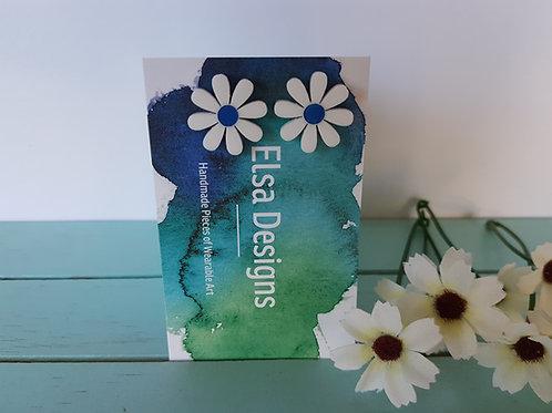 Elsa Designs - White Daisy Studs (Navy)
