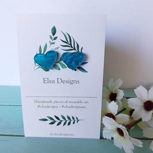 Elsa Designs -  Teal Heart Studs