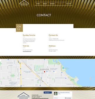 Screenshot of king internation ministries contact page designed by kamadu marketing