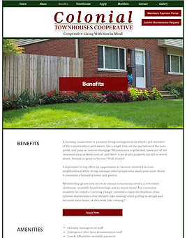 colonial townhouses website homepage designed by kamadu