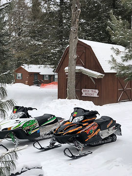 snowmobiles near cabins