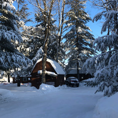 winter in northwoods with cabin