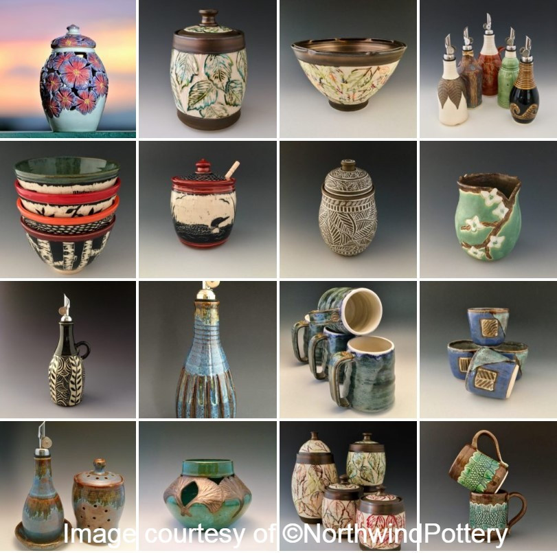 artist collage of pottery work