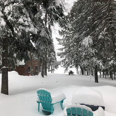snow outside cabin