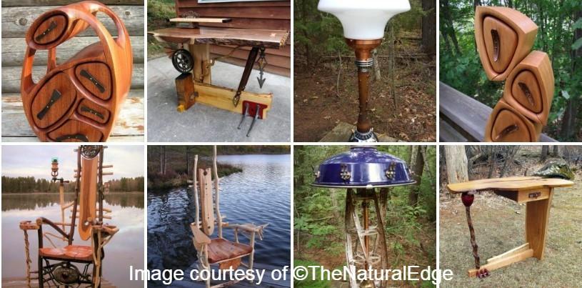 artist collage of wood work