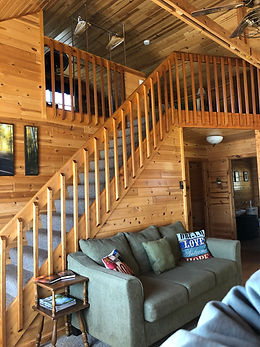 Cabin loft and staircase at Birch Trail Resort