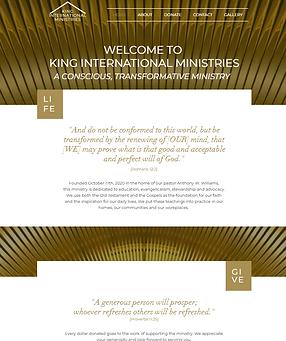 Screenshot of King International Ministries website designed by Kamadu marketing