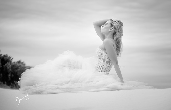 Wedding dress on dunes by DHPhotography