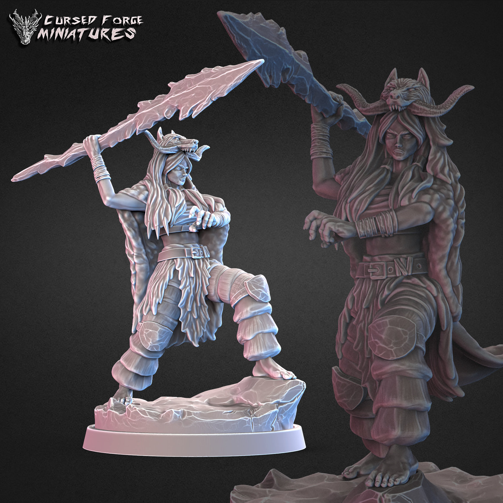 Arctic druid with staff 32mm
