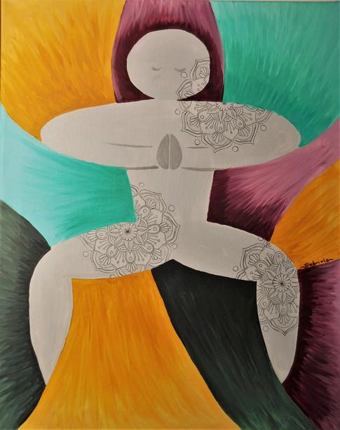 """Acrylic & Lino Print 16"""" x 20"""" $295 -Gabriele Teich"""