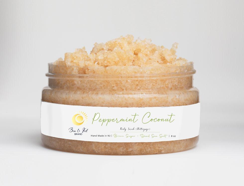 Peppermint Coconut   Body Scrub (Brown Sugar + Dead Sea Salt)
