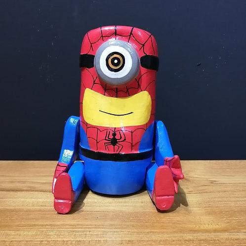 minion spiderman wooden puppet