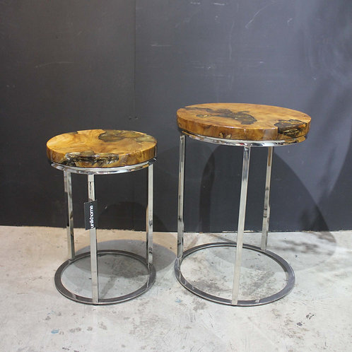 nesting table with resin