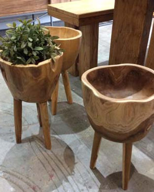 teakwood unique flower pot