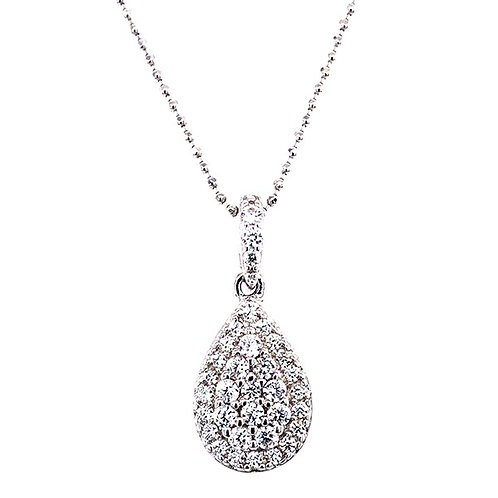 Sterling Silver Cubic Zirconia Tear Pave Outline Necklace 132024