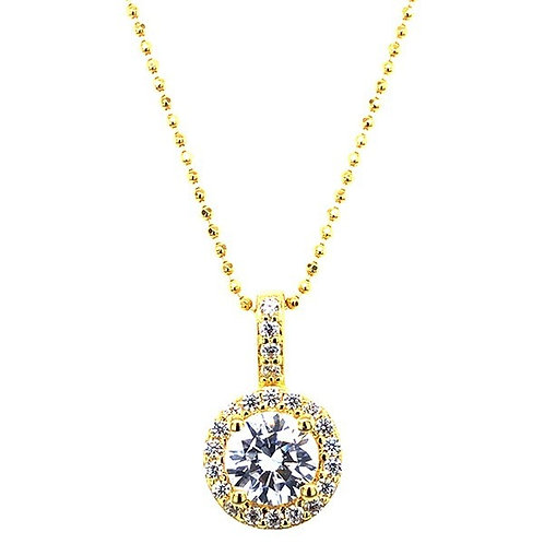 Gold Plated Sterling Silver Cubic Zirconia Round Necklace 143469