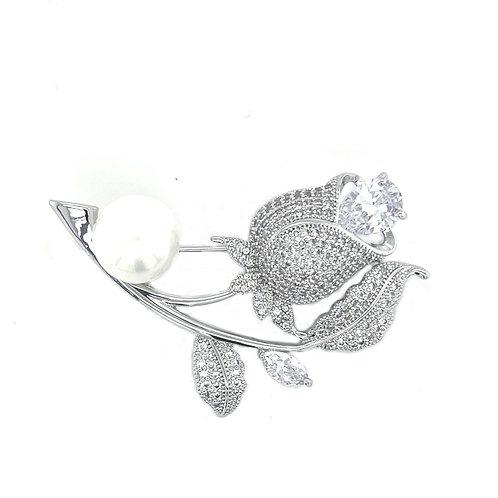 Fashion Silver Cubic Zirconia Flower Brooch 141630